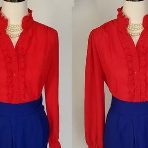 Vintage Cherry Red Ruffle Blouse  Size 10